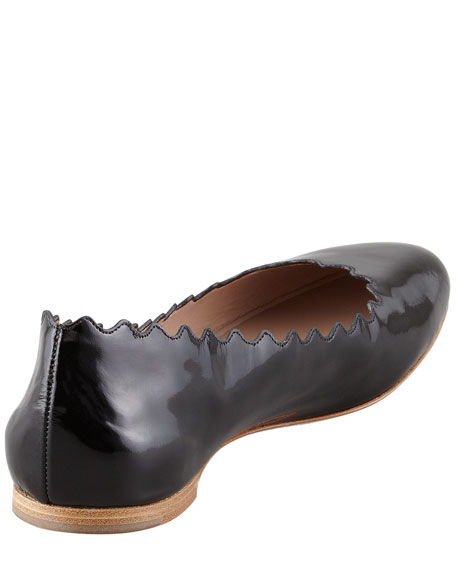 Scalloped Patent Leather Ballerina Flat, Black
