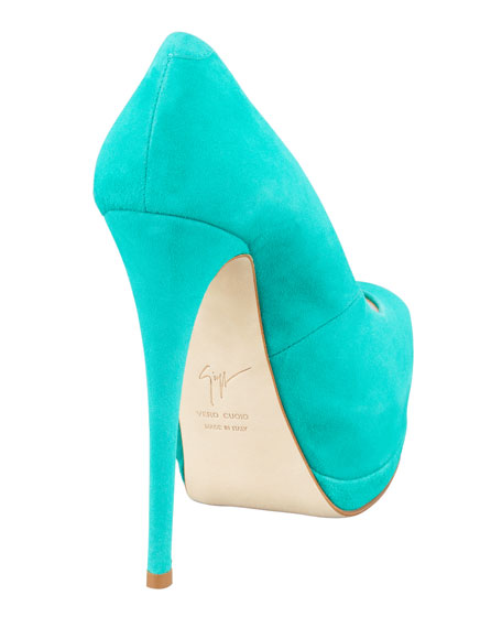 Suede Peep-Toe Double-Platform Pumps, Mint