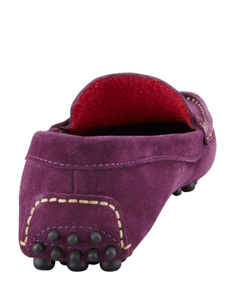 Terry-Trimmed Suede Driver, Plum