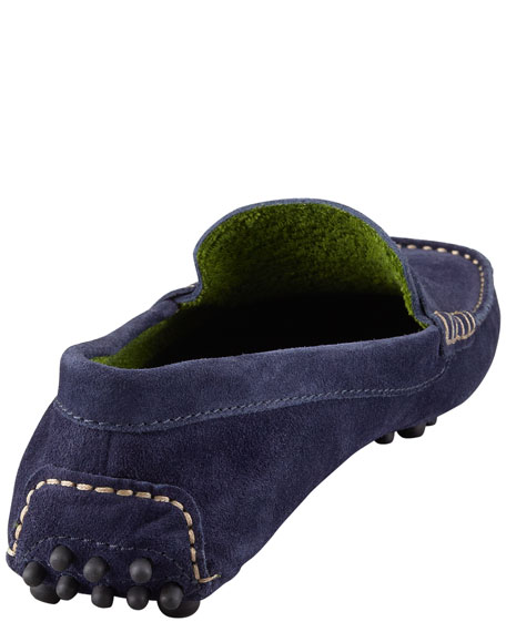 Terry-Trimmed Suede Driver, Navy