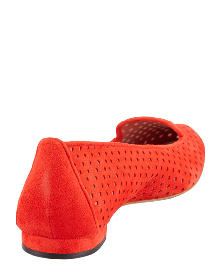 Sharifac Perforated Suede Flat, Red
