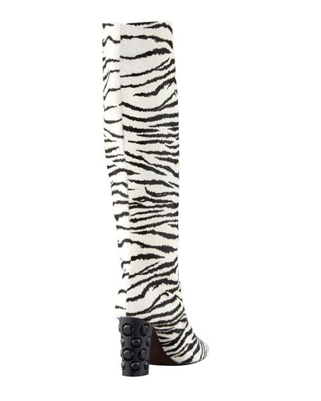 Tiger-Print Pull-On Knee Boot, White/Black
