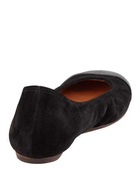 Patent Cap Toe Ballerina Flat, Black