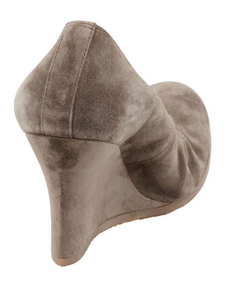 Suede Ballerina Wedge Pump, Gray