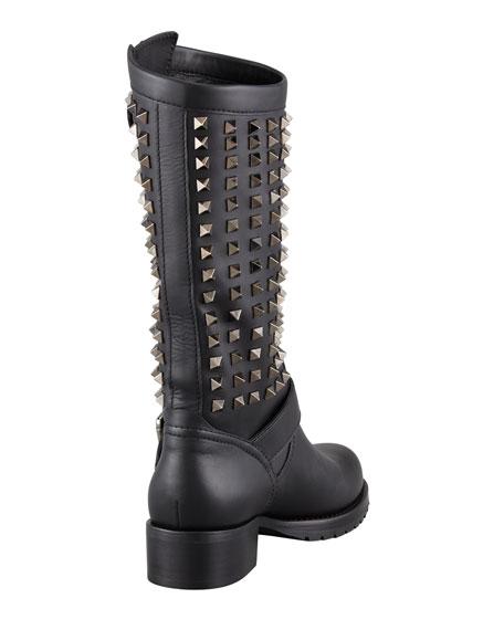 Noir Rockstud Tall Motorcycle Boot