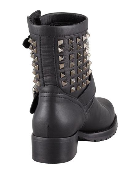 Noir Rockstud Short Motorcycle Boot
