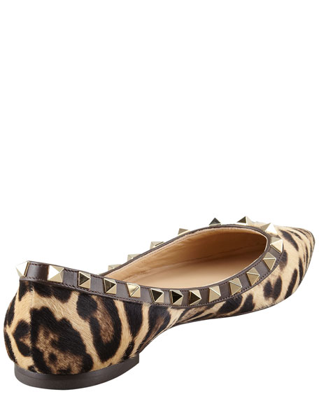 Rockstud Calf Hair Ballerina Flat, Leopard