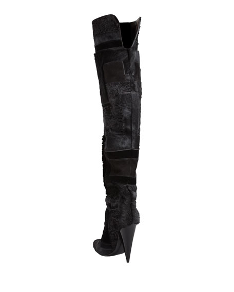 Geometric Patchwork Fur Over-the-Knee Boot
