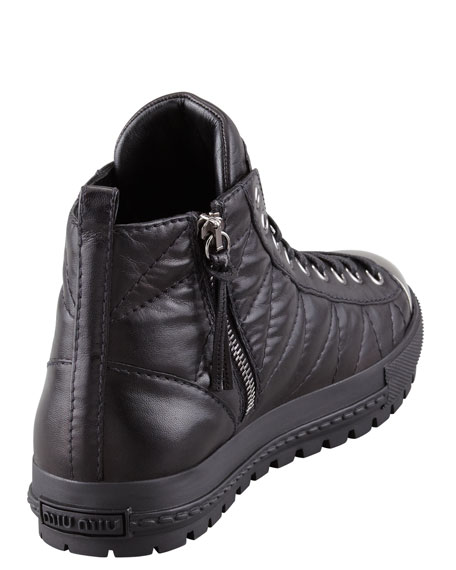 Quilted Cap-Toe High-Top Sneaker
