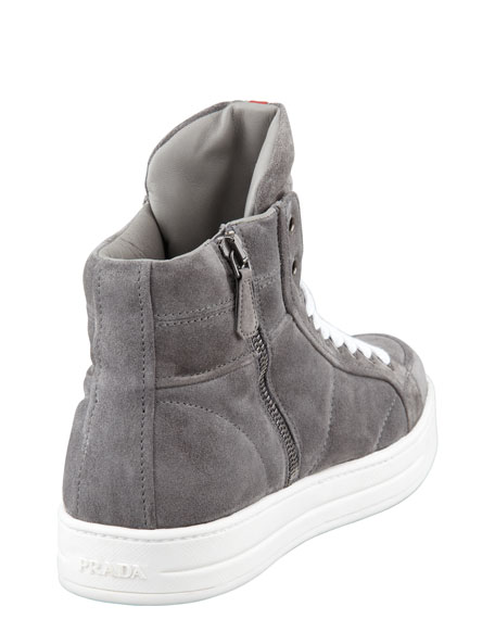 Suede Side-Zip High-Top Sneaker