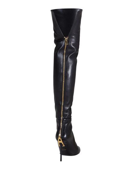 Zipper-Heel Over-the-Knee Leather Boot