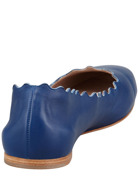 Scalloped Leather Ballerina Flat, Blue