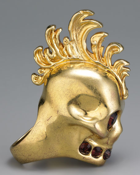 Mohawk Skull Ring, Golden