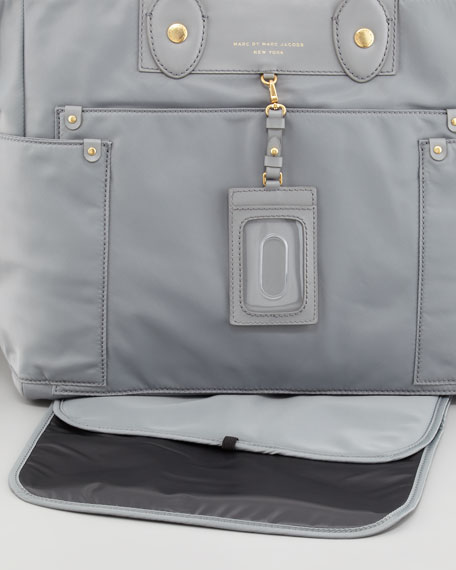 Preppy Nylon Eliz-a-baby Diaper Bag, Storm Cloud