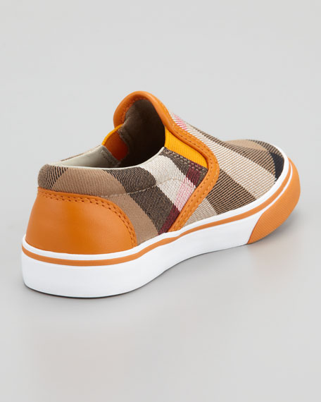 Orange Check Slip On Sneaker, Kids Sizes