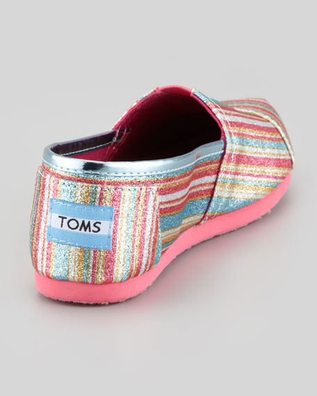 Youth Classic Glitter Striped Slip-On, Pink