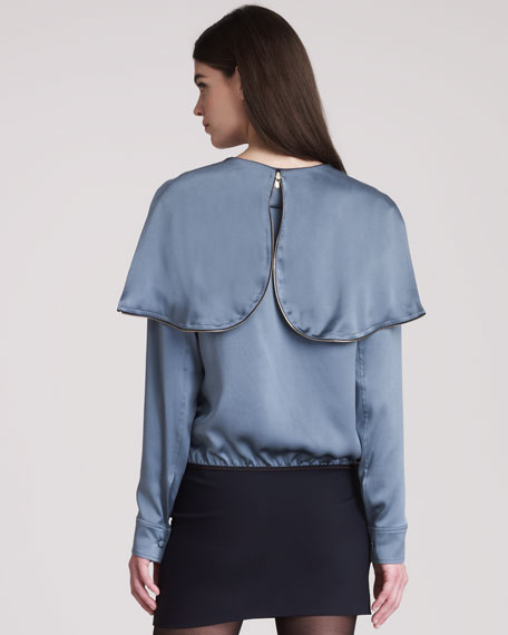 Crepe Satin Top With Front Zip & Hood