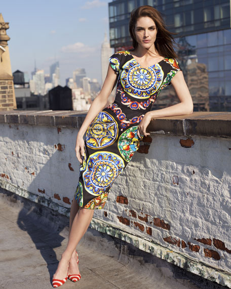 Ceramic-Print Cap-Sleeve Dress