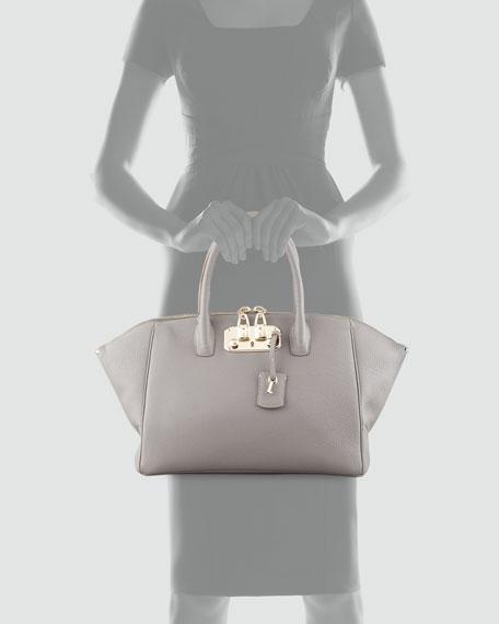 Brera 34 Leather Bag, Light Gray