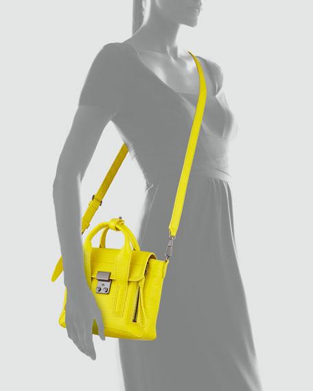 Mini Pashli Leather Satchel, Neon Yellow