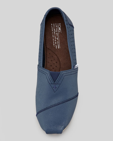 Perforated Leather Slip-On, Navy