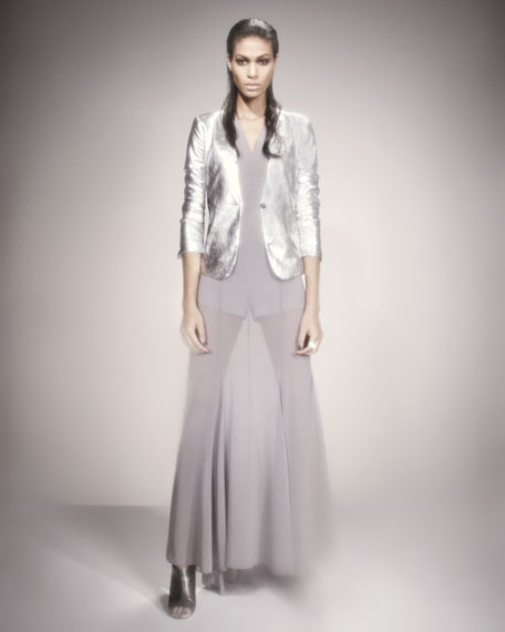 BG 111th Anniversary Darisa Forma Sheer-Skirt Gown, Silver Steel
