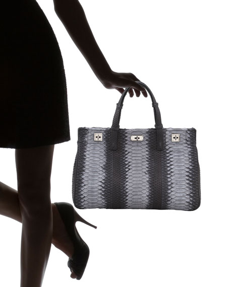 Python Turn-Lock Satchel Bag