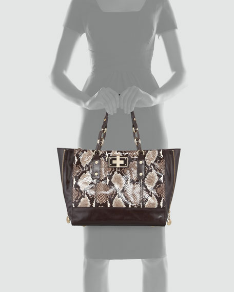 Kathryn Python-Embossed Tote