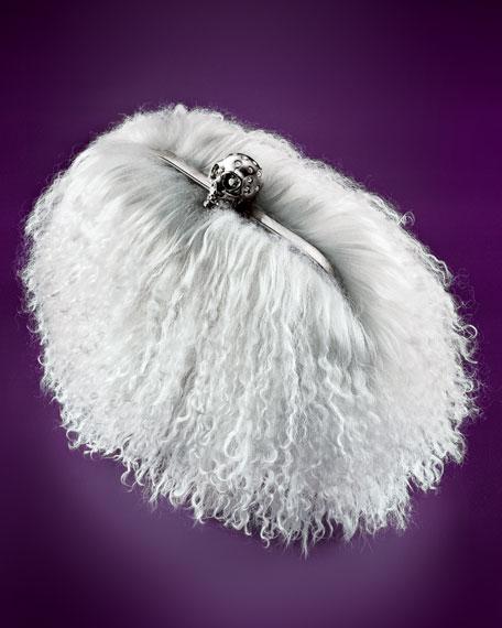 Mongolian Shearling Skull-Clasp Clutch Bag