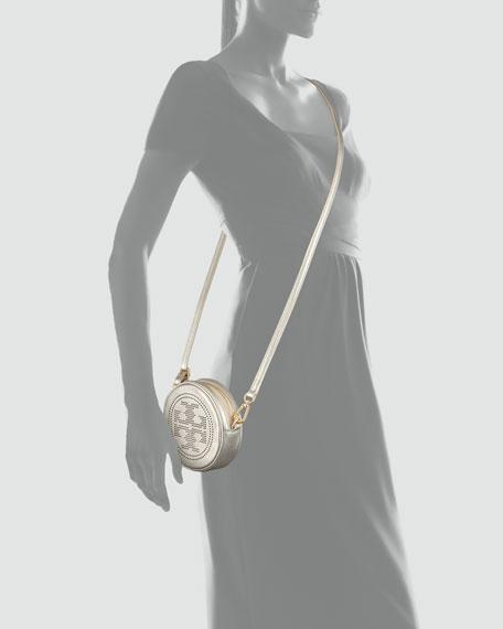 Perforated Logo Round Crossbody Bag, Platinum