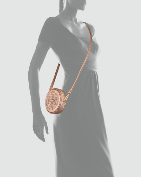 Perforated Logo Round Crossbody Bag, Royal Salmon
