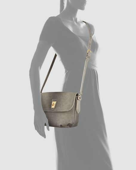 Lizzie Spotless Embossed Crossbody Bag, Moss Gray