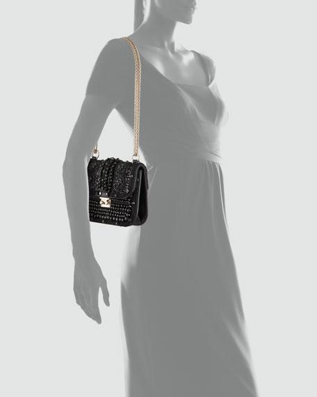 Glam Lock Crystal-Covered Bag, Black