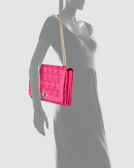 Floral Lace Cutout Shoulder Bag, Pop Fuchsia