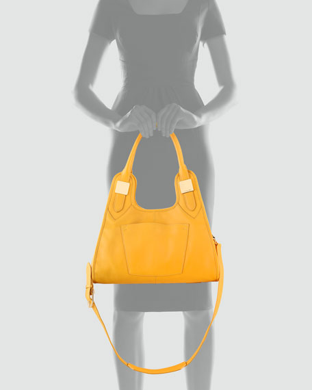 Lucas Small Leather Hobo Bag, Maize