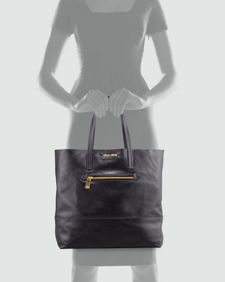Vitello Leather Tote, Black