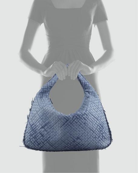Large Veneta Hobo Bag with Fringe, Blue