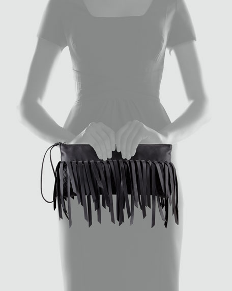 Fringe Lambskin Clutch Bag, Black