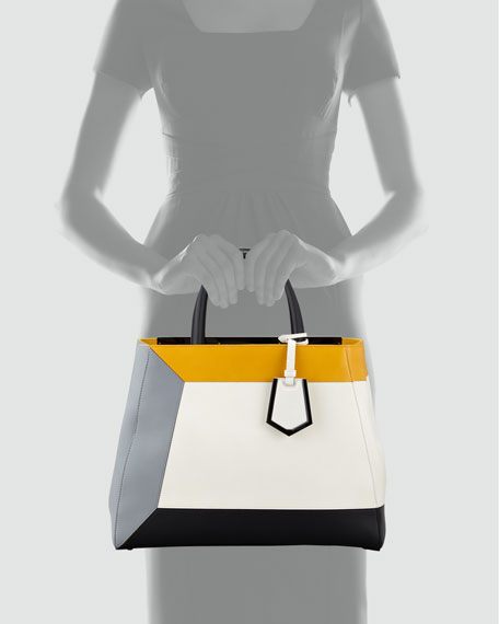 2Jours Colorblock Calfskin Medium Tote Bag