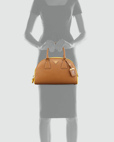 Saffiano Lux Bi-Color Bowler Bag