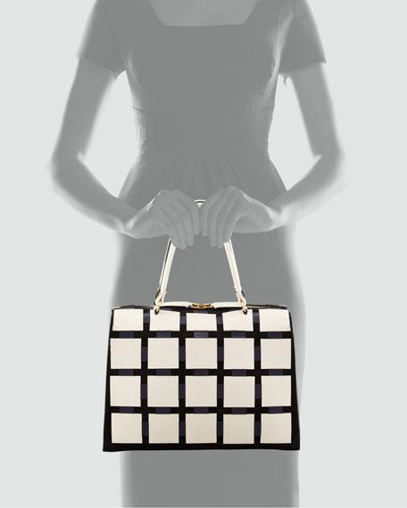Leather Grid Handbag