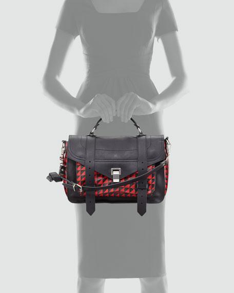 PS1 Triangle-Print Medium Satchel Bag, Red/Black