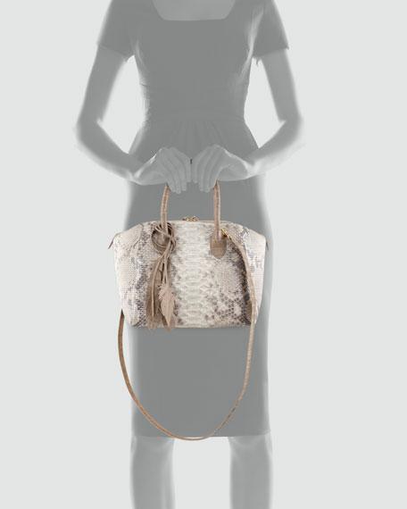 Crocodile & Glittered Python Satchel Bag, Natural
