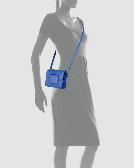 Front-Flap Crocodile Crossbody Bag, Blue