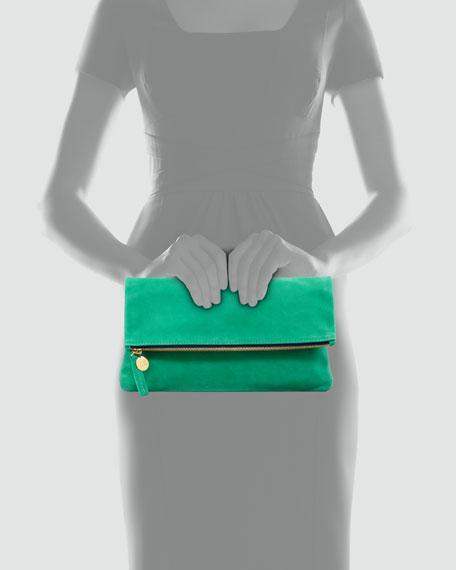 Nubuck Foldover Clutch Bag, Kelly Green
