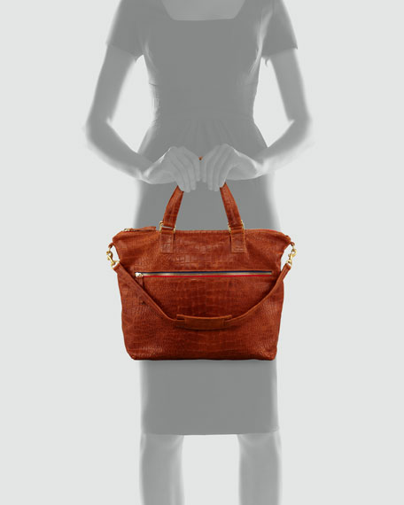 Crocodile-Embossed Lambskin Satchel Bag