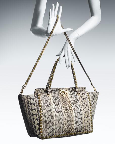 Rockstud Medium Snakeskin Tote Bag, Ivory