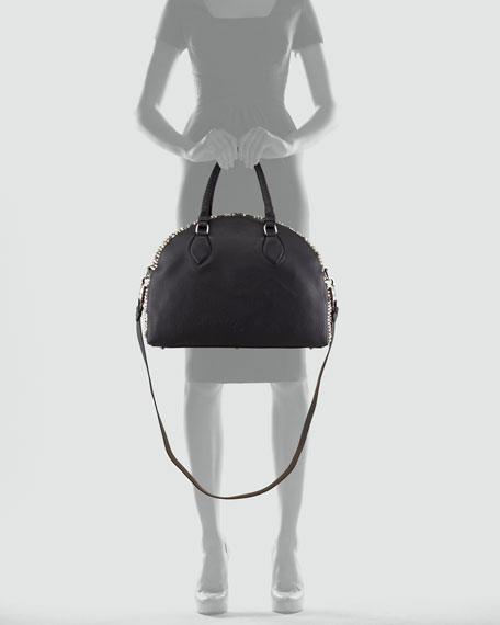 Panettone Large Dome Satchel Bag, Black