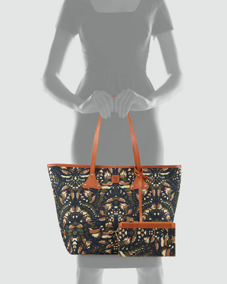 Butterfly-Print Canvas Shopper Tote Bag, Camouflage
