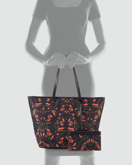 Butterfly-Print Canvas Shopper Tote Bag, Pink